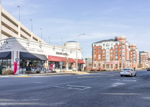 Prosperity Avenue Virginia road in Merrifield neighborhood of county by Dunn Loring Metro, Falls Church, with Modera apartments, district taco, salon lofts